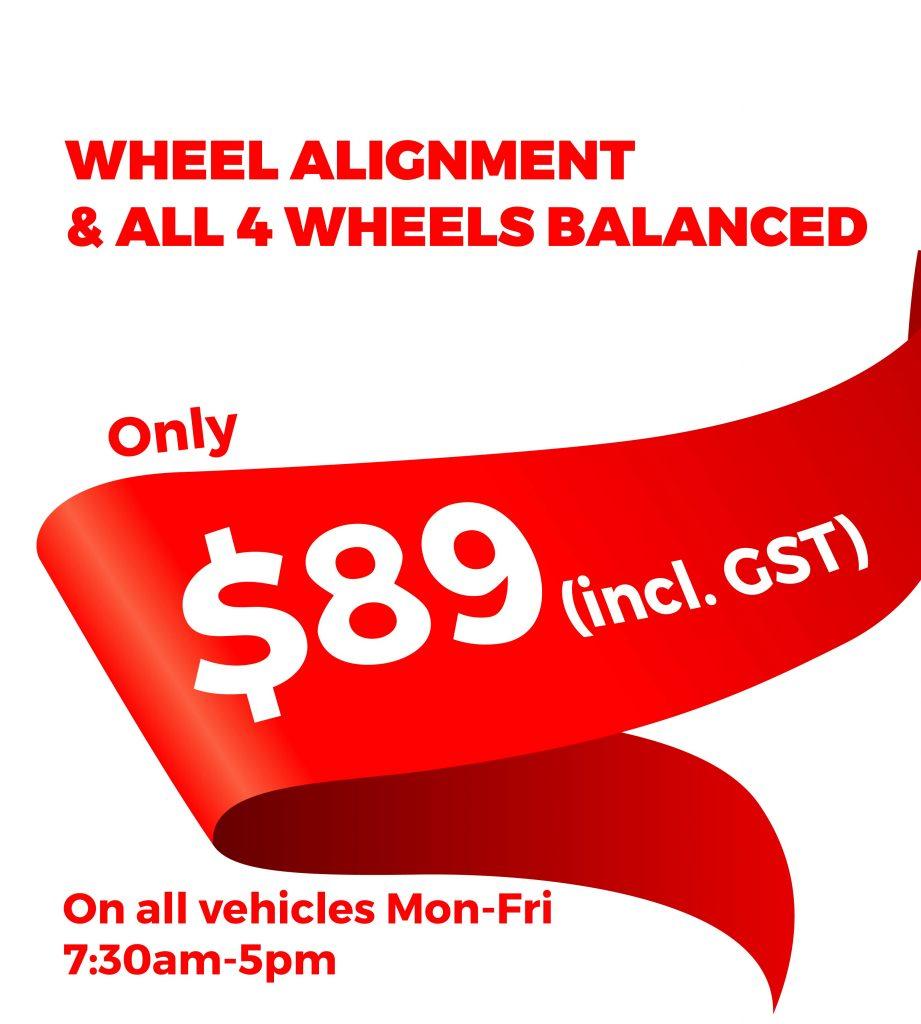 wheel alignment for $89
